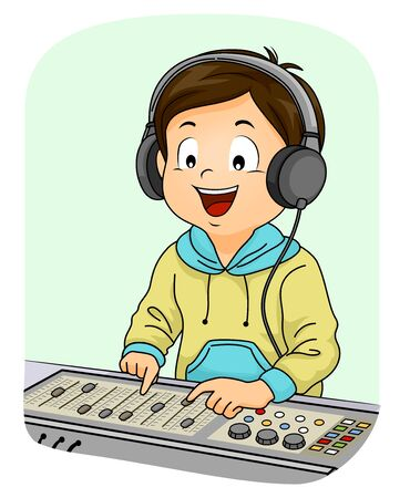 Illustration of a Kid Boy Wearing Headphones and Playing with Sound Equalizer Zdjęcie Seryjne