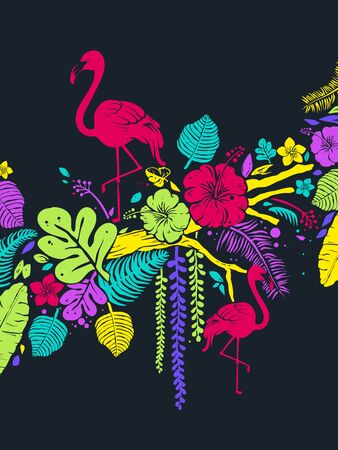 Background Illustration of Pink Flamingos with Tropical Flowers and Leaves and Branches