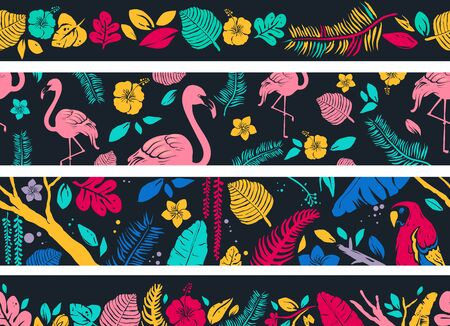Banner Illustration of Tropical Leaves, Flowers, Flamingo and Parrot Birds