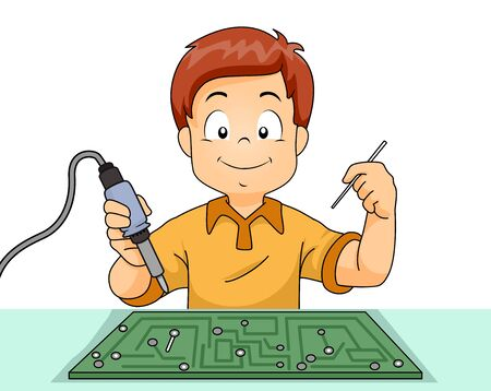 Illustration of a Kid Boy Holding a Soldering Iron with Computer in Front
