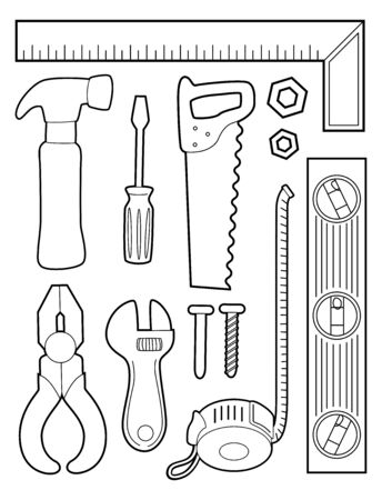 Illustration of a Coloring Page of Different Construction Tools from Ruler, Hammer, Screwdriver, Saw, Pliers to Measuring Tape Stok Fotoğraf