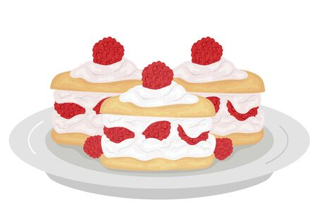 Illustration of Raspberry Shortcakes on a Plate with Raspberries and Cream on Top