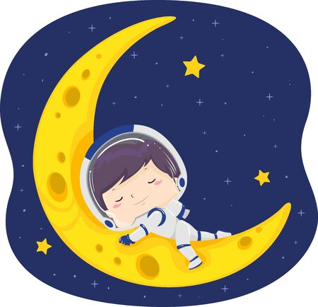 Illustration of a Kid Boy Astronaut Sleeping on the Crescent Moon Banco de Imagens - 130760379