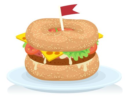 Illustration of Canada Bagels Burger with Flag on Plate Stock fotó