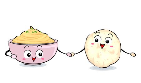 Illustration of a Pita Bread Mascot Holding Hands with a Bowl Mascot of Hummus