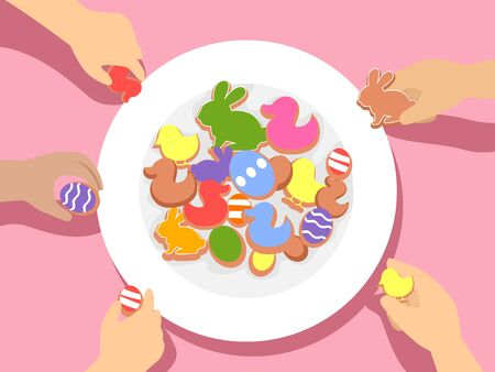 Illustration of Kids Hands Taking Easter Party Cookies and Treats Shaped as Chick, Rabbit and Egg Reklamní fotografie