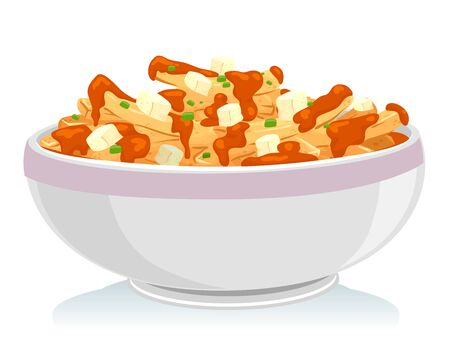 Illustration of a Bowl of Poutine, a Canadian Dish