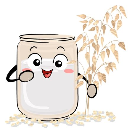 Illustration of a Mason Jar with Oat Milk Mascot Holding an Oat Plant with Steel Cut Oats Below