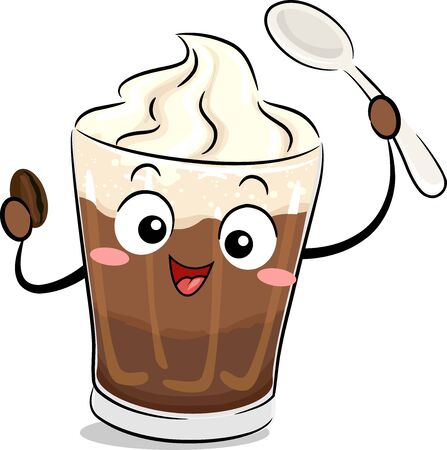 Illustration of an Einspanner Coffee Mascot Holding Coffee Bean and Spoon Stok Fotoğraf - 130760398