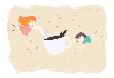 Illustration of a Man and a Girl with a Cup of Coffee Floating with Coffee Beans Stok Fotoğraf