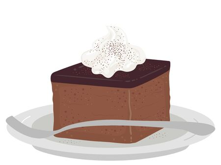 Illustration of an English Ginger Bread Cake with Whipped Cream on Saucer with Fork