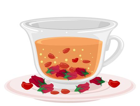 Illustration of a Cup of Rose Bud Tea on Saucer with Red Petals