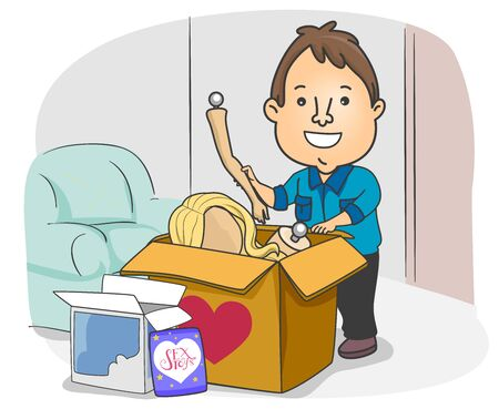 Illustration of a Man with an Opened Love Doll Package and other Adult Toys Delivered at Home