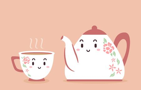 Illustration of a Pot and Cup of Tea Mascots
