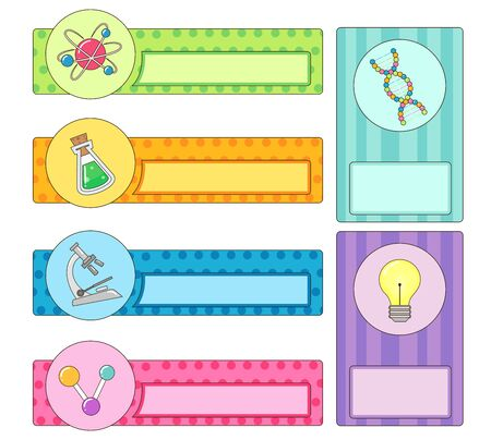 Illustration of Different Science Labels from Atom, Flask, Microscope, Molecule, DNA and Light Bulb Stock fotó