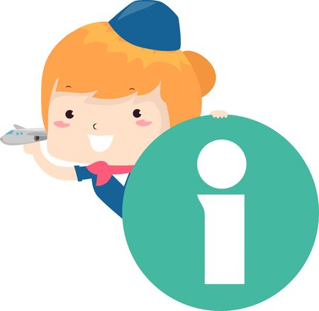 Illustration of a Kid Girl Wearing Flight Stewardess Uniform Holding the Information Icon and a Toy Plane