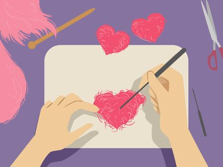 Illustration of Hands Holding a Needle Making a Red Heart Using Needle Felting Technique