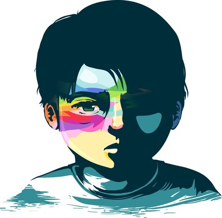 Illustration of a Sad Kid Boy with Rainbow Paint on Face