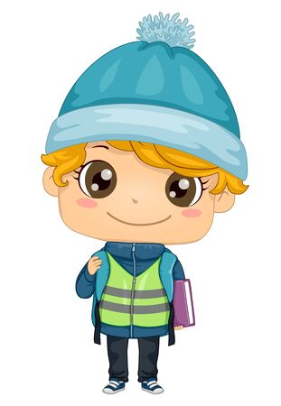 Illustration of a Kid Boy Student Wearing a Winter Hat and Carrying a Backpack with a Book Banco de Imagens