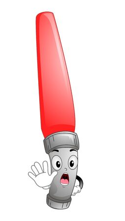 Illustration of a Red Traffic Baton Mascot Signaling Stop