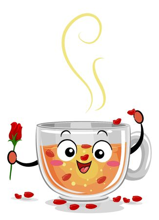 Illustration of a Cup of Rose Tea Mascot Holding a Rose Bud and Pouring Some Petal Inside