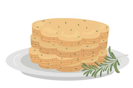 Illustration of a Stack of Rosemary Shortbread with a Sprig of Rosemary on Plate