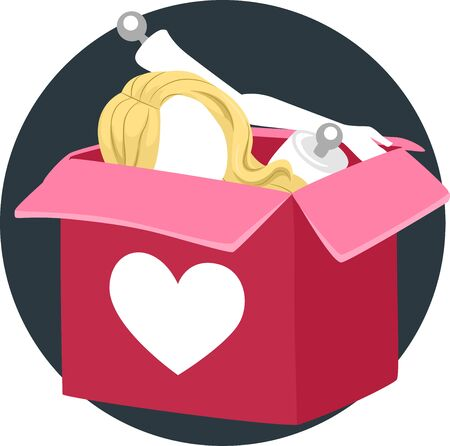 Illustration of a Box with Heart Print and a Love Doll for Assembling
