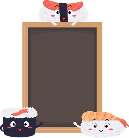 Illustration of Sushi Mascots with a Blank Black Board Foto de archivo - 130760510