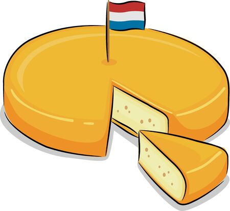 Illustration of Gouda Cheese with a Flag of the Netherlands