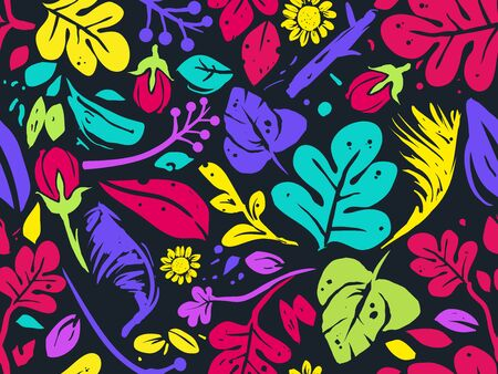 Seamless Background Illustration of Tropical Flowers and Leaves in Vivid Colors