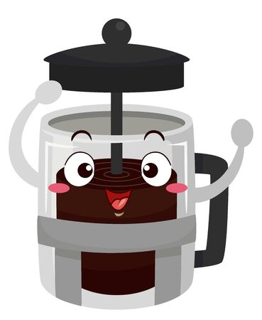 Illustration of a Coffee Press Mascot Raising Its Cover