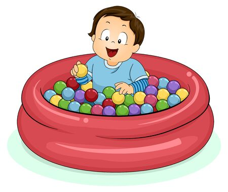 Illustration of a Kid Boy Toddler Playing Inside a Ball Pit
