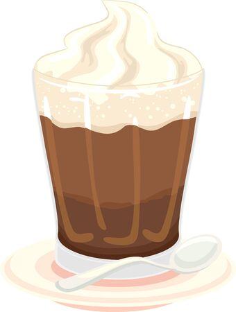 Illustration of Einspanner Coffee on Saucer with Spoon Reklamní fotografie