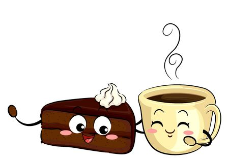 Illustration of a Slice of Sachetorte Cake Mascot and a Cup of Coffee Mascot Stok Fotoğraf - 130760529