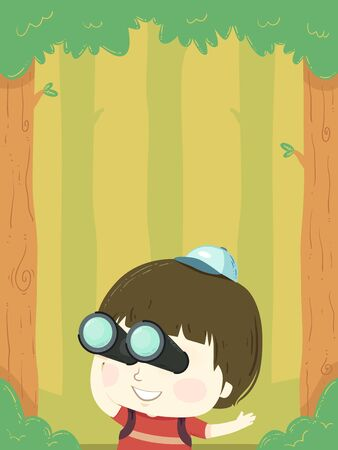 Illustration of a Kid Boy Using Binoculars in the Forest for Birdwatching Stock fotó