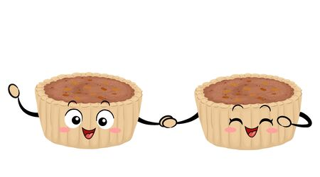 Illustration of Two Butter Tart Mascots Holding Hands