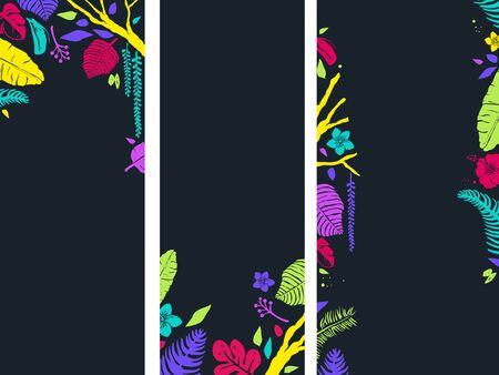 Background Illustration of Three Vertical Banners with Stencil Tropical Border