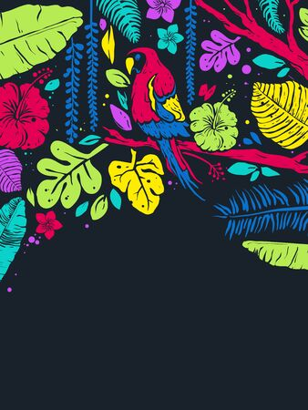 Background Illustration of a Parrot Among Tropical Leaves and Flowers Stok Fotoğraf