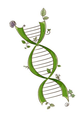 Illustration of a Green DNA with Leaves and Flowers