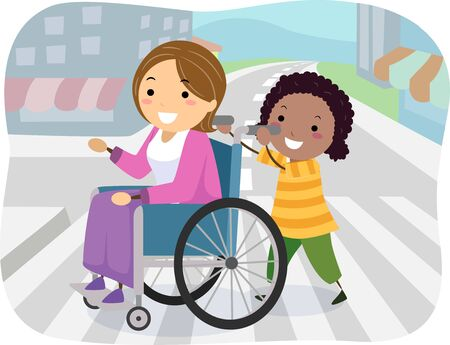 Illustration of a Stickman Kid Girl Helping a Woman in Wheelchair Cross the Street