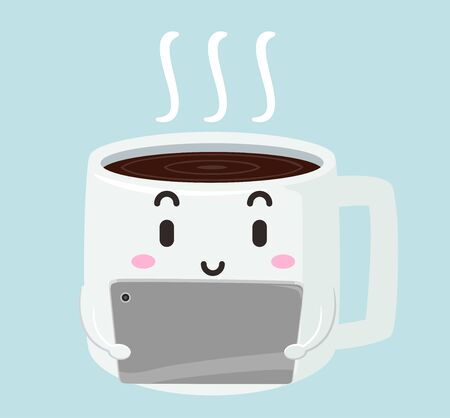 Illustration of a Cup of Coffee Mascot Using a Tablet Computer Stok Fotoğraf - 130760546