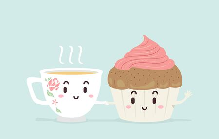 Illustration of a Tea Cup Mascot and a Cupcake with Pink Frosting Mascot