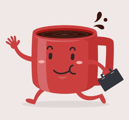 Illustration of a Coffee Cup Mascot with Briefcase, Waving While Walking Off to Work Stok Fotoğraf