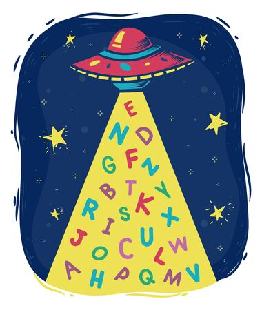 Illustration of a Flying Saucer Space Ship Beaming with the Alphabet