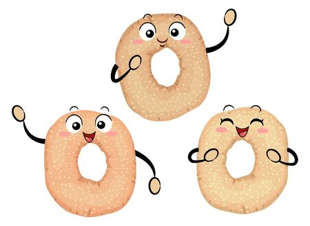 Illustration of Three Montreal Style Bagels Mascots