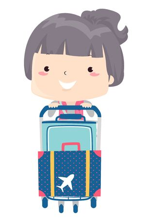 Illustration of a Kid Girl Pushing a Baggage Cart with Her Luggage at the Airport