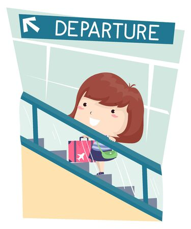Illustration of a Kid Girl Going Up an Escalator in the Departure Area at the Airport Фото со стока