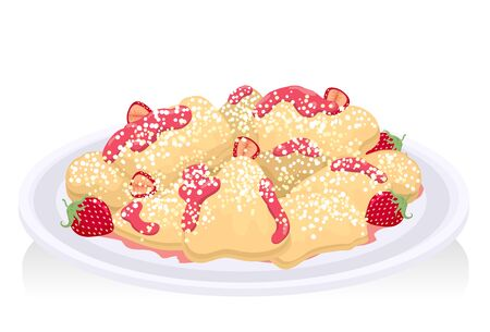 Illustration of Kaiserschmarrn with Strawberry and Sauce