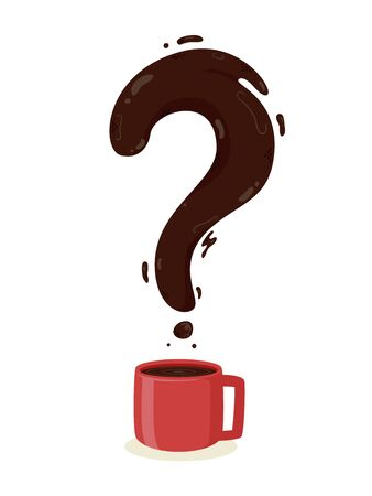 Illustration of a Coffee Drink in a Cup with a Question Mark