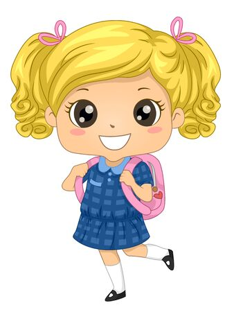 Illustration of a Blonde Australian Kid Girl Student Wearing Blue Uniform and Carrying Backpack